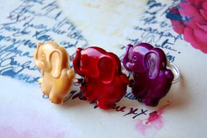 Kitschy Elephant Rings by OcularFracture