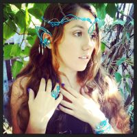 Water Nymph or Blue Fae cosplay wire jewelry set by RoxyRoseCreations