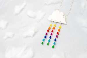 Rainbow Rain Necklace by PeachesandPebbles