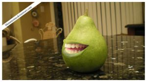 The Biting Pear of Countertop by blasianonna