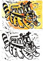 Linogravure - chat bus by Pendalune