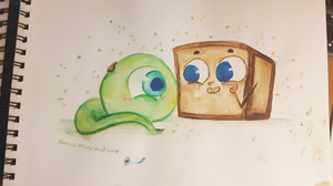 Watercolor: TinyBoxTim and Septiceye Sam by ChloesImagination