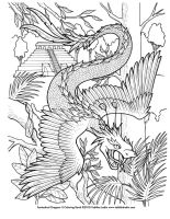 Quetzalcoatl Coloring Page by TabLynn