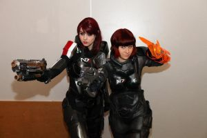 Renegade Shep and Paragon Shep kicking Reaper ass! by KarinOlava