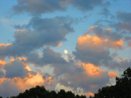 Moon and Sunset Clouds by Rachelgravesart