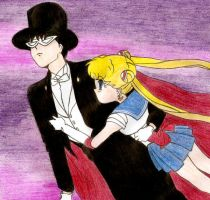 Tuxedo Mask and Sailor Moon by silentemotion9