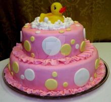 Rubber Ducky Shower Cake by InkArtWriter