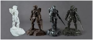 Halo 4 Master Chief Statues by xar8