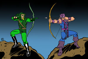 Green Arrow vs Hawkeye by EarthmanPrime