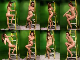 Woman on a ladder poses by Alpha-Ninja-Studio