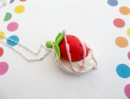 Strawberry Whipped Cream Necklace by kikums