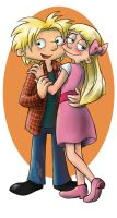 Arnold and Helga as teens redrawn by Demona-Silverwing