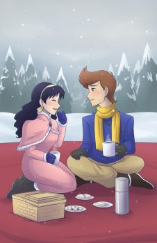 Snowy Picnic by SaBasse