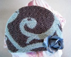 Blue and Brown Swirl with Silver Rose Hair Clip by spaceraptor