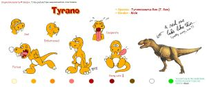 Model sheet for Tyrano by Skorpix