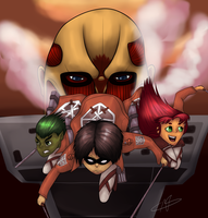Attack On Teen Titans by AlexisDragonStorm