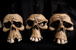 Skull Poison Bottles by thebigduluth
