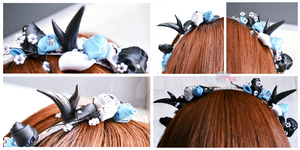 Kanzashi headband horns black turquoise by KawaiiRoxX