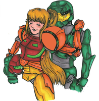 Samus X Master Chief by Jitterbugie