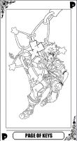 KH Tarot: Page of Keys (lineart) by way2thedawn