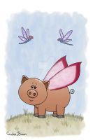 Dragonflies and Piggy by VioletDolphin