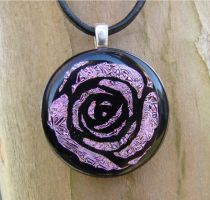 Pink Rose Fused Glass by FusedElegance
