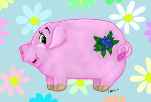 Blueberry Pig In Daisies by Raph1966