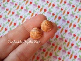 Sea Shell Earrings 1 - Gold, Orange by FunkadelicPsychoFish