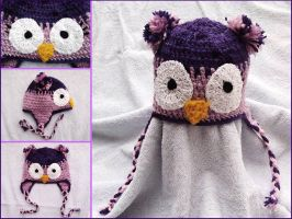 Owl earflap hat by argentinian-queen