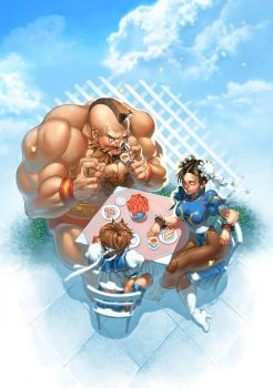 Street Fighter Tea Party by emilywarrenart