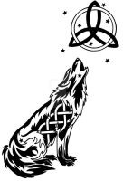 Starry Celtic Wolf And Moon Tattoo by DansuDragon