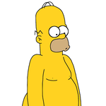 Homer Simpson naked by MarcosPower1996