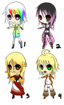 Adoptable Batch 1 by Daine-Hime