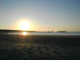 The Beach Sunset + boat by t22designs