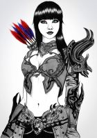 warrior girl discolored by carldraw