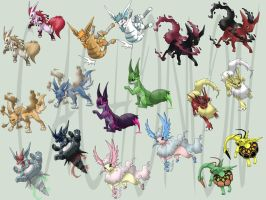 My Eeveelutions + SHINY by Cachomon
