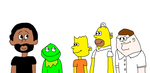 Stefan and Kermit Meeting Bart, Homer and Peter by MikeEddyAdmirer89