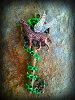 Emerald Wolf Fantasy Key by ArtByStarlaMoore