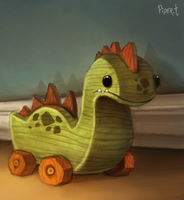 DAY 102. Wooden Dino (25 Minutes) by Cryptid-Creations