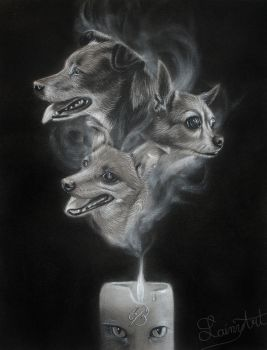 Landall's Candle - Charcoal Commission by secrets-of-the-pen