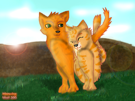 Firestar And Sandstorm by MeowingWolf200