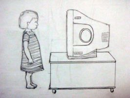WIP Little girl and TV by NightWolf7272