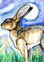 ACEO #369 The rabbit and the moon by Beast91