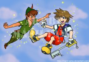 Sora and Peter Pan by marii-vamp