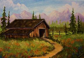 ACEO Country Barn by annieoakley64