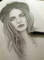 Cara Delevingne pencil sketch by farooky