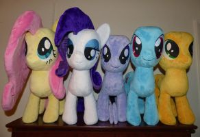 Fluttershy and her friends (Pony Plush WIP) by PantherPawCreations