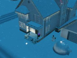 My sim's house in the winter :P by chocosunday