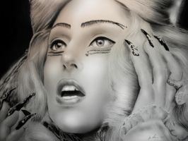 Lady Gaga charcoal drawing by Art-SamiKahelin
