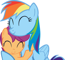 Scooterloo and Rainbow Dash Hug [ Vector ] by Paxiya